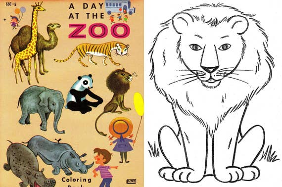 OFFER!! 5 Coloring books animals, animals to color, zoo, farm, 50\'s - 70\'s.  Instant Download, PDF format (RM108-1)