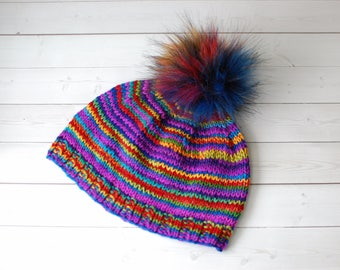 Hand knit hat- handspun, pompom, superwash wool, womens