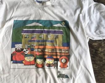 Vintage 1990s White South Park 100% Cotton Tshirt