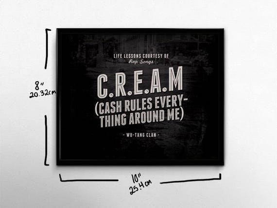 Hip Hop Wall Art Wu Tang Clan Rap Poster Cream Life Lessons Etsy