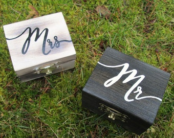 Mr and Mrs ring boxes, His and hers ring boxes, ring box set, wedding ring boxes, custom ring boxes, wedding ring box, ring box, mr and mrs