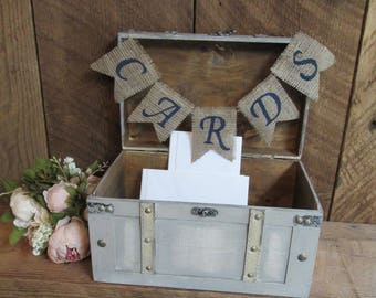 Shabby chic wedding card box, burlap wedding decor, card chest, card trunk, wood chest, wedding card holder, card box, wedding trunk, custom
