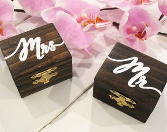 Mr and Mrs ring boxes, His and hers ring boxes, ring box set, wedding ring boxes, custom ring boxes, wedding ring holder, ring bearer box