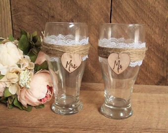 Rustic wedding beer glasses, wedding toasting glasses, mr and mrs glasses, his and hers cups, wedding toasting flutes, wedding wine glasses