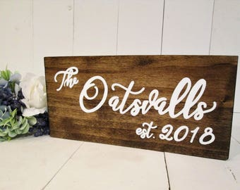 Rustic family name sign, wood est sign, established sign, family est, wood wall sign, photo prop, rustic home decor, wedding sign gift,