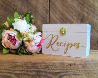 Recipe box, recipe holder, bridal shower gift, recipes for the bride, gift for her, wedding gift, rustic kitchen decor, recipe book, recipes