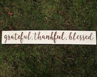 grateful thankful blessed wood sign, rustic farmhouse decor, farmhouse wall sign, wooden doorway sign, rustic wall decor, blessed wood sign