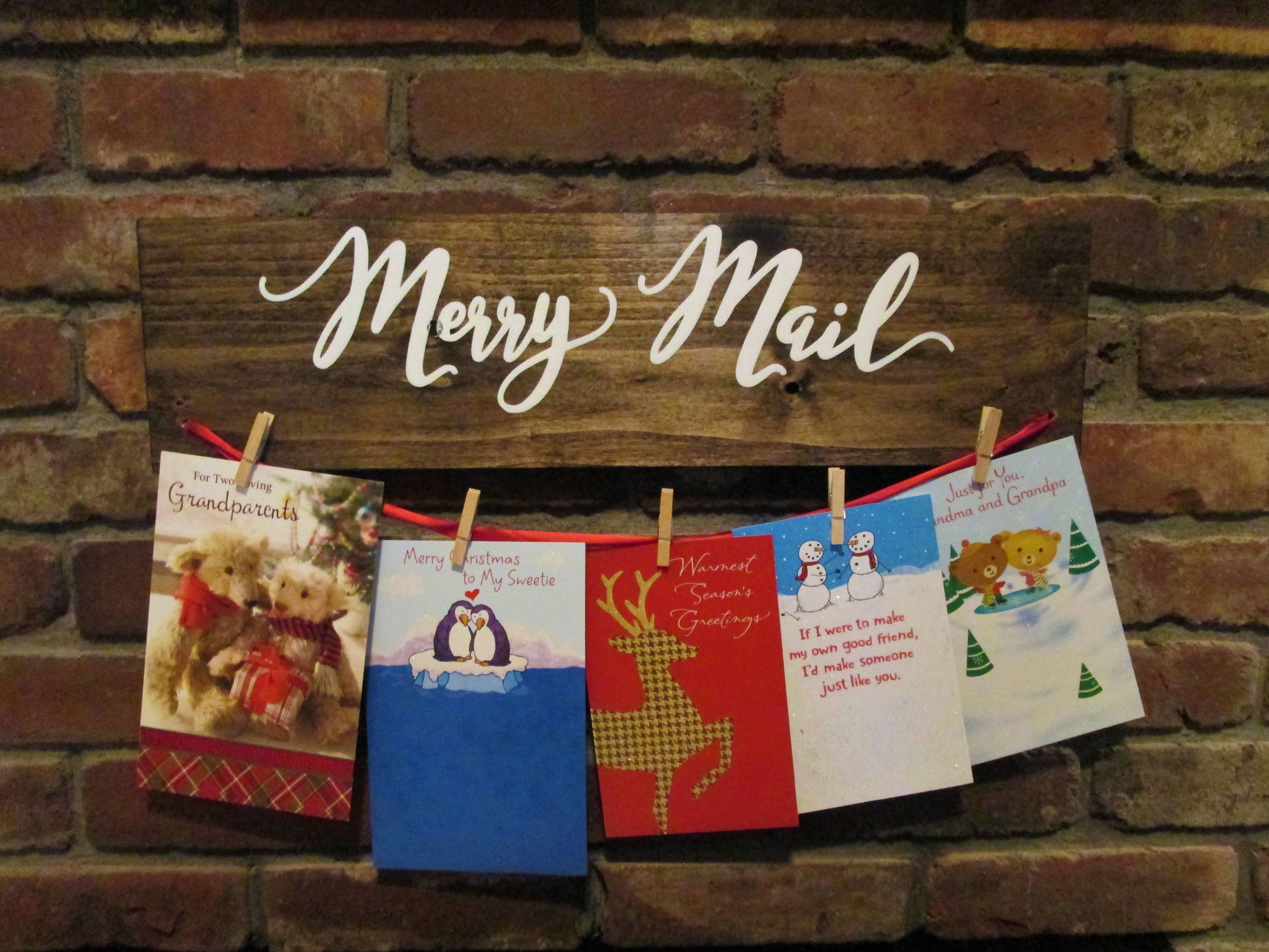 Merry mail Christmas card holder choose your colors Christmas   Etsy