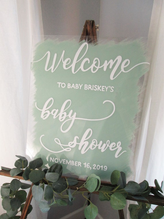 sweet16 Baby Shower Welcome Sign baby/'s first birthday Customized Hand Painted Clear Acrylic Plexiglass any wording  any event bat mitzvah