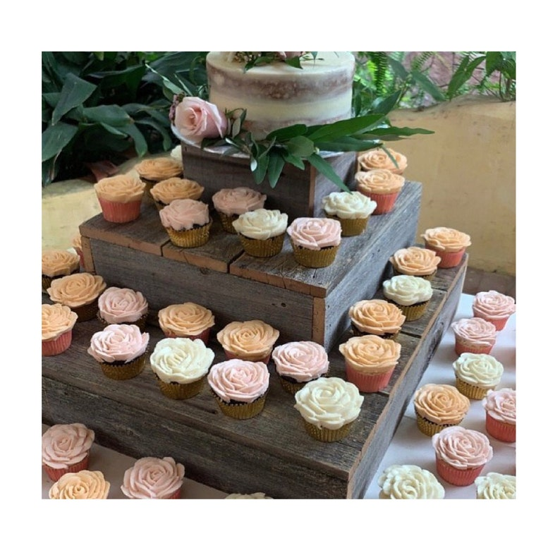 Rustic Wood Cupcake Stand Tiered Cupcake Stand Wooden Grey Cake Stand 3 Tier Dessert Stand Rustic Wedding Decor Reclaimed Wood Stand