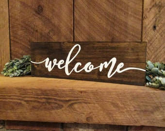 Wood welcome sign, farmhouse wall decor, welcome decor, entryway sign, hallway sign, welcome, wood entry sign, doorway sign, wooden sign