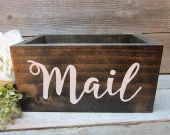 Rustic wooden mail holder box, farmhouse home decor, wood mail and bill organizer, office storage, mother's day gift for mom, gift for her