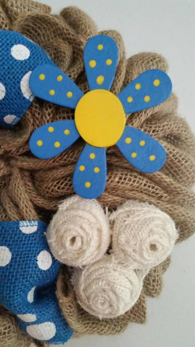 Rustic Wreath Beautiful Blue and White Burlap Wreath Summer Wreath Flower Wreath Small Wreath