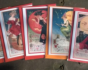 Glamourous witches Halloween cards - sold separately or as a pack of 5. Samhain, All Hallows Eve, pagan, Wiccan, witch