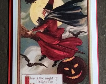 Flying Witch, full moon and bats Card, Halloween Greetings, vintage style, All Hallows Eve, many more cards in shop!