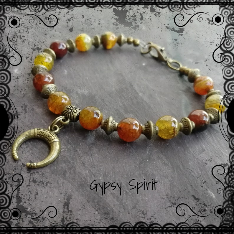 boho Wiccan Golden agate and bronze bracelet with crescent moon pagan