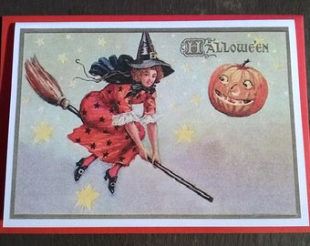 Little witch in a red starry dress. Vintage style witch print Halloween Card, All Hallows Eve  - many more cards in shop!