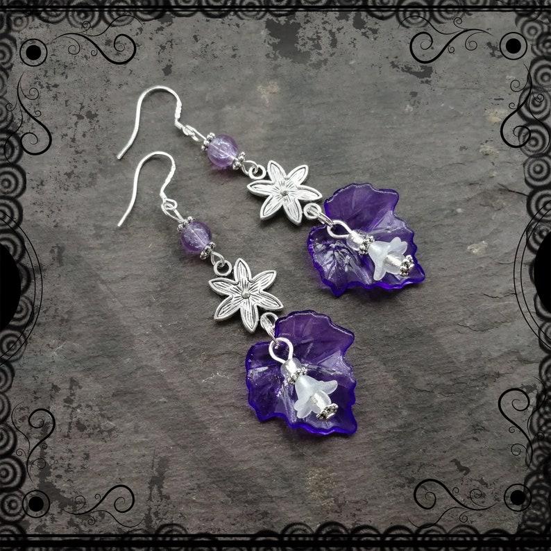 lightweight Purple flower and leaf pretty dangle earrings fae fey .925 ear wires