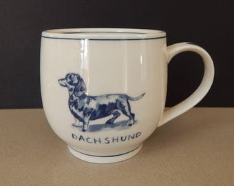 Anthropologie Dachshund Weiner Dog Icon Mug Molly Hatch Coffee Cup