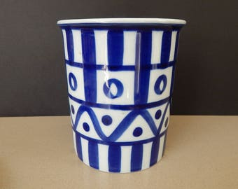 Dansk Arabesque Utensil Holder, Wine Coller, Vase, Blue and White