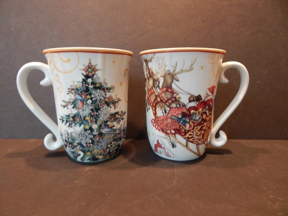Williams Sonoma Christmas Catalog.Set Of 2 Williams Sonoma Christmas Tree Cup Mugs 4 5 8 Twas The Night Before Christmas