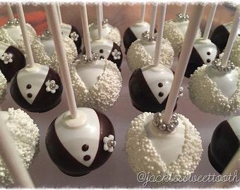Bridal Cake Pops, Bride and Groom Cake Pops, Engagement Cake Pops, Wedding Cake Pops