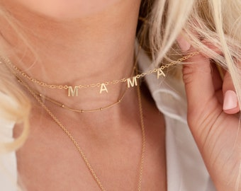 Tiny Letter Necklace Baby Name Necklace Top Selling Items Perfect Gift for Her Mama Letter Necklace Mothers Day Gift