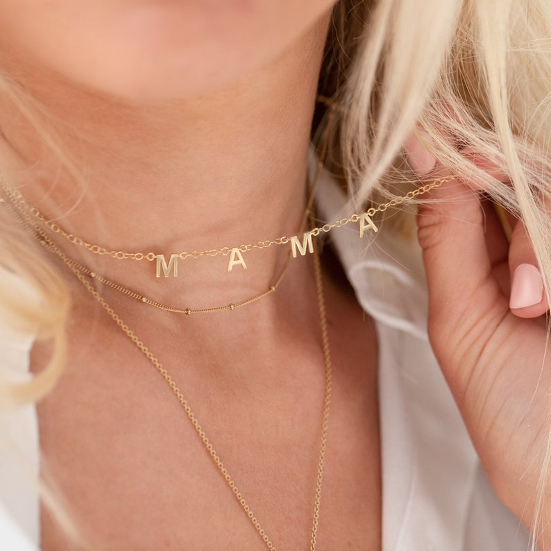 Personalised Gold Little Letters Necklace Name Necklace Gold image 0
