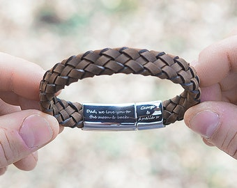 Personalised Brown Mens Secret Message Bracelet, Hidden Message Leather Bracelet, Unique Wedding Gift, Mens Woven Bracelet, Gift for Dad