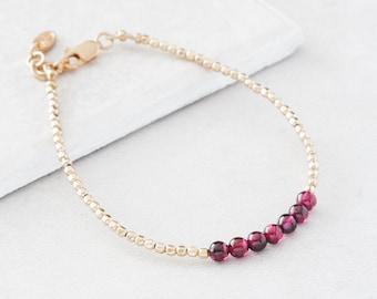 January Garnet Birthstone Bracelet