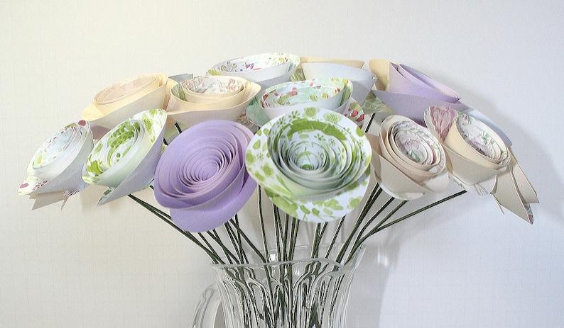 Pastel Paper Flowers 2 Dozen Stemmed Wedding Flower Bouquet Paper Bouquet Rolled Roses Wedding Decor Bridal Flowers Paper Flowers