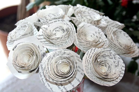 Paper Flower Bouquet Paper Flowers Little Women Torn Ragged Etsy