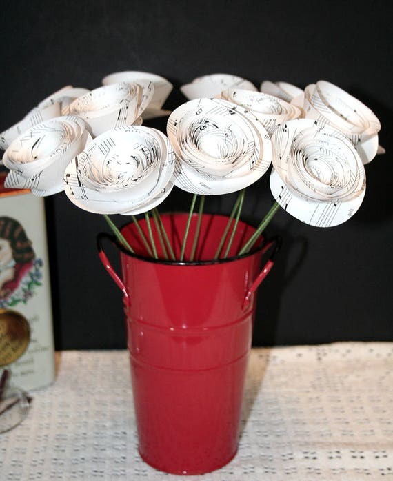 Music Note Paper Flowers Flower Bouquet Long Stemmed One Etsy