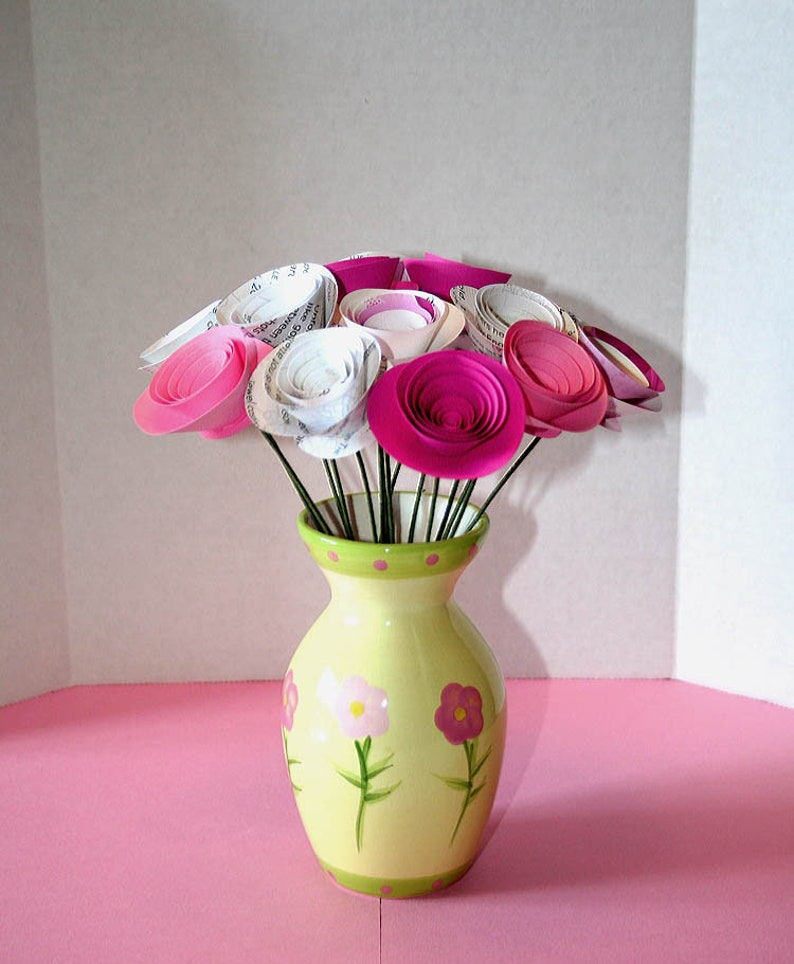 Paper Anniversary Stemmed Roses Baby Shower Decor Girls Room Decor Pink Paper Flowers Book Page Flowers Paper Bouquet Set of 15