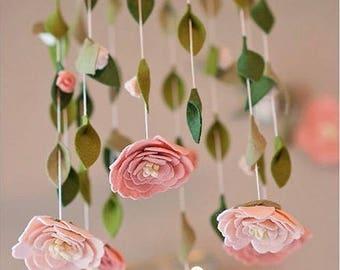 Flower chandelier nursery mobile | Blush, White, Pink | Felt Flower Mobile