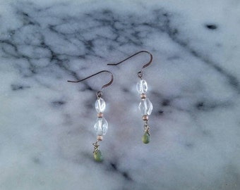 Light blue aquamarine, quartz and green glass sterling silver earrings