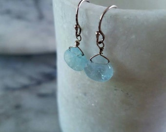 Sky Blue aquamarine briollette & sterling silver earrings
