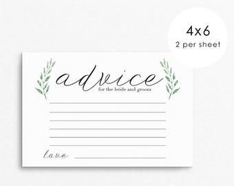 Wedding Advice Card for Bride and Groom / wedding advice cards / advice for the bride / simple advice cards / watercolor wedding advice