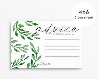 Advice Cards / Wedding Advice Card for Bride and Groom / wedding advice cards / advice for the bride / wedding advice / watercolor printable