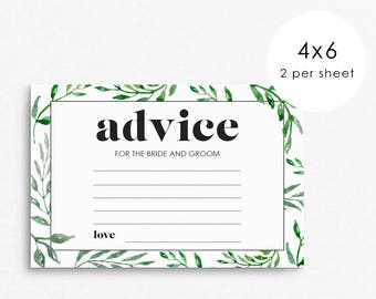 Advice for the bride and groom / Wedding Advice Cards / simple wedding / wedding advice / advice for the bride / watercolor leaves