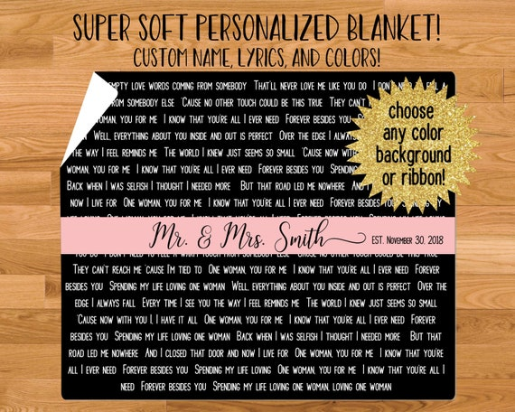 Wedding Song Lyrics Blanket - Makes a Unique Wedding Gift! - Custom Font  and Color Options