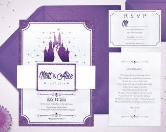 Fairytale Wedding Invitations   Fairytale Castle   Customised Wedding Invitations   Princess   Glitter Invitations   Handmade Invitations