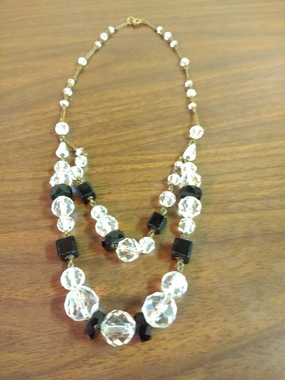 Original Vintage Art Deco Faceted Black /& Clear Cased Crystal Glass Chain Linked Necklace Circa 1930s Very Pretty