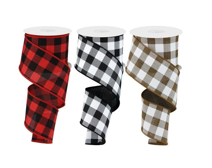 """BUFFALO Plaid Check RIBBON roll of Wired 2.5"""" wide X 10 Yard, Create bows, Checkered, Red, Brown, Black, 1 ROLL"""