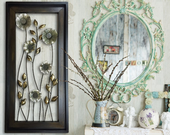 METAL Wall ART Wood Framed FLOWERS Mirrors Home Decor Large Vertical Artwork Gorgeous Beautiful Copper Gold Silver Espresso Unique Elegant