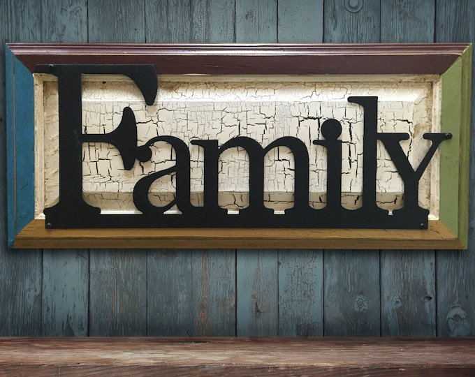 FAMILY Sign Wood Multi Colored Frame with Metal Reclaimed Distressed Rustic Our Wall Home Decor Burgundy Green Crackled