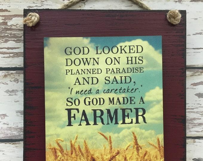 FARMER SIGN, So God made a Farmer, FIELD Farm House Country Farmhouse, Gift for Farmer, Distressed Reclaimed Wood Wall Home Decor Red Blue