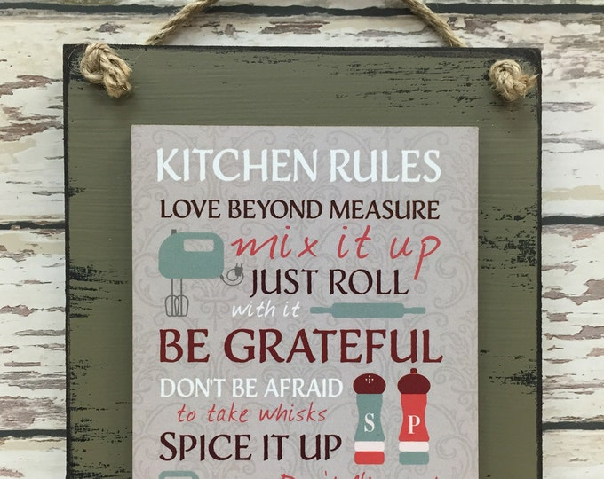 KITCHEN RULES SIGN, Love beyond measure, Be grateful, Spice it up, Don't flip out, Hey good lookin Distressed Wood Wall Decor 6X8 Red Green