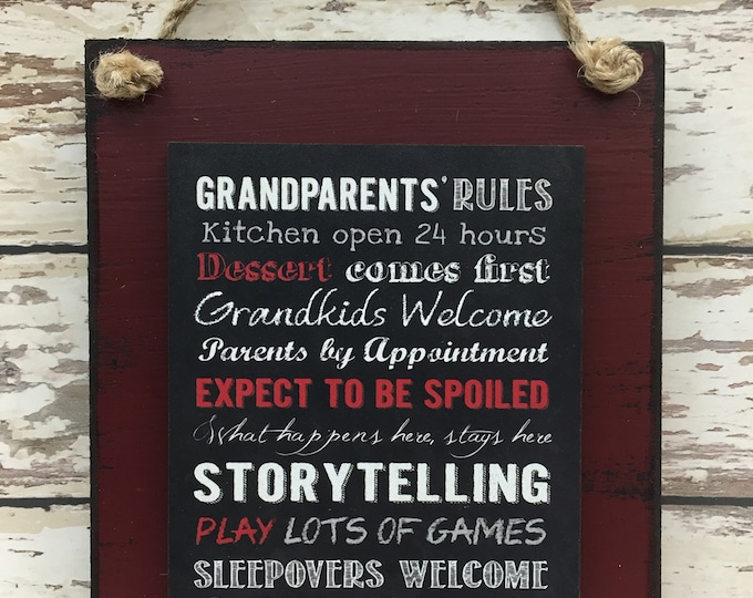 GRANDPARENTS RULES SIGN, Funny Grandma Grandpa Gift, Grandkids Spoiled Welcome, What happens at Grandmas, Distressed Wood Wall Decor 6X8 Red