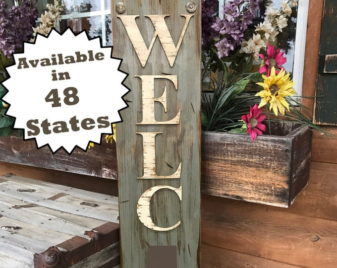 ARIZONA Sign Vertical, Indoor Outdoor, Farm Home Lake Welcome word, Rustic Distressed Wood *Antique Red White Blue Tall Xl Large Wall AZ